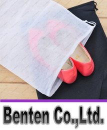 Wholesale Drawstring Dust Covers - Promotion Non-woven Shoe Drawstring Travel Storage Shoe Dust-proof Tote Dust Bag Case Black White Pouch Tote Bag Dust-proof Shoe free fedex