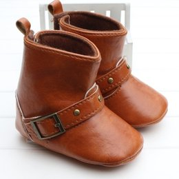Wholesale Infant Soft Brown Boot - 2016 New Fashion Baby Autumn Winter Boots PU Letather First Walkers Infants soft bottom Anti-skid Shoes Winter Warm Toddler shoes A01
