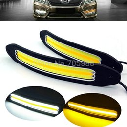Wholesale Drl Daytime Running - New Arrival flexible Waterproof White and Yellow Car Head Light COB LED Daytime Running Lights DRL Fog Lights with Turn Signal light