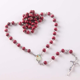 Wholesale Indian Rosary - 6mm Wine Red Wood Bead Necklace 20 Inches Catholic Rosary Necklace Silver Christian Cross Pendant Necklace Best Christmas Gift