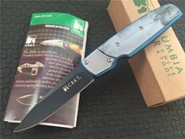 Wholesale Fulcrum Knives - Blue Crkt Fulcrum 7404 By Russ Kommer AUS-8 Blade Plain Black Finish Drop Point CPL Handle Folding Blade Knife Pocket Knives With Box