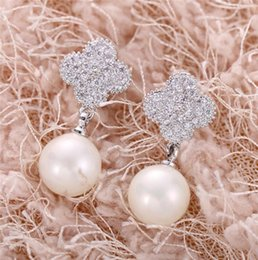 Wholesale Vintage Pearl Dangle Earrings - Pearl dangling earrings Ladies pearl dangling earrings AAA ZIRON earrings platinum Plated brinco vintage Party Wedding drop earrings of girl