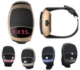 Wholesale Card Reader Digital - B90 Alarm Bluetooth Speaker Sports digital-Watch Portable Mini MP3 Music Bluetooth Watch Speakers FM Radio Free
