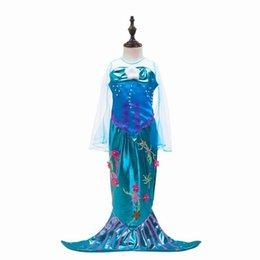 Wholesale Mermaid Style Dresses For Kids - Retail 2017 Girls Mermaid Dresses Halloween Cosplay Dress Flare Gauze Long Sleeve Dancing Dress For Kids Children Clothing BJ001