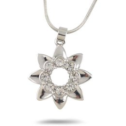 Wholesale Korean Small Pendant Necklace - Korean fashion Attractive Price Crystal Rhinestone Small Flower Daisy Adjustable snake chain pendant necklace for Sweater chain