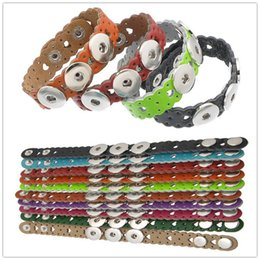 Wholesale Christmas Punches - Mixed Colors Noosa punching Hollow Flower Leather Bracelets Fit DIY 18mm Interchangeable Chunks Ginger Snap Button for Women Men