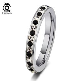 Wholesale Eternity Ring Stainless - ORSA New Hot Female Black&Clear Crystal Eternity Rings Titanium Steel Women Wedding Band Rings OTR73