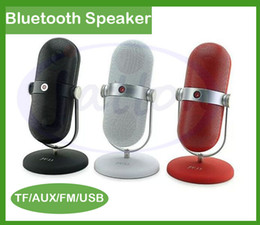 Wholesale U Disk Shaped - JY-13 Retro MINI Microphone Shape Bluetooth Speaker Built-in Microphone with TF  U disk MP3 Player for iPhone Samgsung DHL free shipping