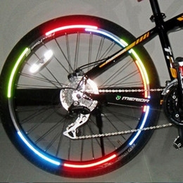 Wholesale Reflective Bike Gear - 6 Colors Bicycle Reflector Fluorescent MTB Bike Bicycle Sticker Cycling Wheel Rim Reflective Stickers Decal Accessories