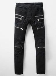 Wholesale Jeans Pant Folding - hot man Biker Jeans for men New Fashion zipper Hole folds Motorcycle Jeans Biker black Jeans size 28-40