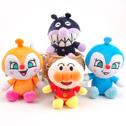 Wholesale Wholesale Mini Anime - Hot Sale 4pcs Lot 10cm Anpanman Batakosan Shokupanman Baikinman Mini Keychain pendants Plush Doll Toy Gifts