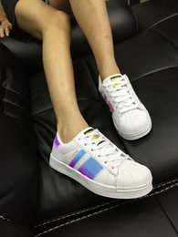 Wholesale Flat Lace Ribbon - Shell Head Sneakers Unisex On The New Laser Ribbon Color Shells Silver Shoes With Flat Low Helped Breathable Leisure Shoes Sneakers