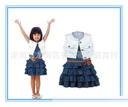 Wholesale Denim Jackets Toddler - Baby Kids Casual Girl Dress Cotton Jacket Coats +belt+ Denim dresses Layered Toddler tutu Dresses with belt 80-120cm Free shipping E900