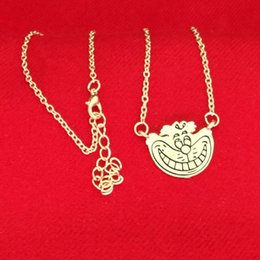 Wholesale alice wonderland charm - Alice In Wonderland Cheshire cat Necklace Gold smile face pendants for women kids fashion jewelry Christmas gift 160639