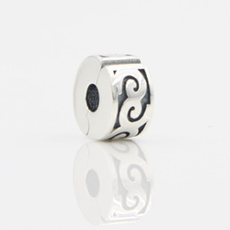 Wholesale Dressing Cube - Vintage Silver Bead Opened S925 Stamped Beads Charms Pendant For Women Dress Brand Bracelet Necklace Fashion Jewelry Making DIY Accessories