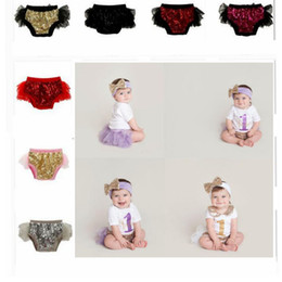 Wholesale Girl Nappies - kids sequins shorts Headband Ruffle Bloomer Diaper Nappy Cover Panties Set sequins Nappy Underwear Diaper Cover KKA2655