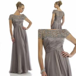Wholesale Empire Fuchsia Evening Dresses - 2016 Vintage Sheer Crew Neck Chiffon Mother Dresses Short Sleeves Beaded Rhinestone Ruffles Empire Waist Formal Prom Evening Gowns
