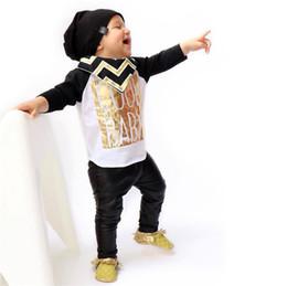 Wholesale Cotton Leather Shirts Wholesale - ISN Baby Clothes Outfits Cotton Gilt Letters T-shirts Sets Leather Pants Trouser Suits Babies Clothing 2 Piece Set Infant Clothing