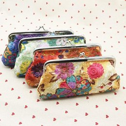 Wholesale Wallet Women Embroidery - Fashion Embroidery flowers fabric coin purse 12 pcs long wallet women clutch children cute money bag key holder money clip 4 colors W613