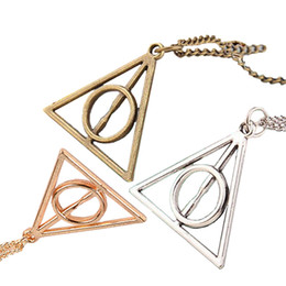 Wholesale Silver Deathly Hallows Pendant - 2017 Deathly Hallows Pendant Necklace film movie jewelry for fans Triangle round pendant retro jewelry silver bronze gold Sweater chain