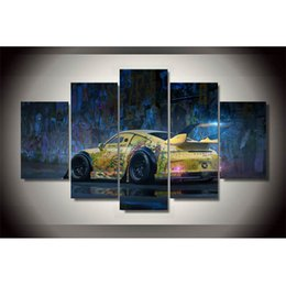 Wholesale oil painting framed landscape yellow - 5 Panels Graffiti yellow car ,Modern Abstract Canvas Oil Painting Print Wall Art Decor for Living Room Home Decoration(Unframed Framear