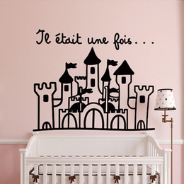 Wholesale Castle Wall Decor - French Princess's Castle Removable Vinyl Wall Stickers For Kids Room Home Decor FQ0008