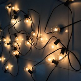 Wholesale Tail Plug Black - Wholesale- 15M 50 G40 Clear Glass Bulbs String Light Outdoor Patio Garden Incandescent String Lamp EU US Plug With Tail Plug Black Cable