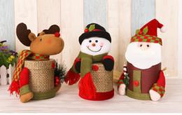 Wholesale snowman boxes - Christmas decorations creative gift Candy jar cookies box Santa Claus snowman fawn doll Flax gift box