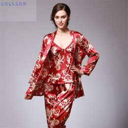 851da09a59 Wholesale- COCKCON Silk pajamas women s autumn long sleeved pants three  sets long nightgowns women sexy sleepwear TZ013