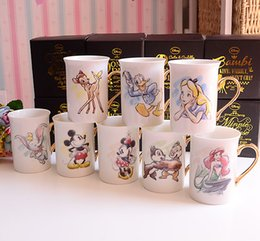 Wholesale Porcelain Mermaid - Wholesale- New Arrival Original The Little Mermaid Alice Princess Dumbo Elephant Cute Cartoon Porcelain Coffee Milk Golden Mugs Cup Gift