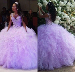 marfil 15 años vestidos Rebajas Sweet 16 Dresses Sexy Sweetheart Beading Quinceanera Vestidos Vestidos De 15 Anos Light Purple Organza Cheap Quinceanera Batas