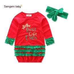 Wholesale Kids Hair Ruffles - Ins 2017 new baby Christmas Dress Printed Ruffle Girls Princess Dresses bow hair band 2pcs sets Girl Lace Dress kids boutique clothing A1030