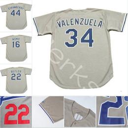Wholesale Butler Jerseys - Custom Los Angeles LAD 34 Fernando Valenzuela 22 Brett Butler 44 Darryl Strawberry 16 Hideo Nomo 23 Kirk Gibson Throwback Baseball Jerseys
