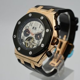 Wholesale Skeleton Automatic Mechanical Watch Sale - Hot sale silicone skeleton men AAA brand watch luxury tourbillon mechanical auto date small three needle men business watch Reloj mecanico
