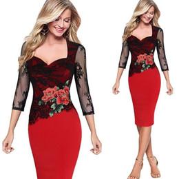 Canada Gros femme robe dentelle rose broderie force élastique paquet hanche crayon robe mode mosaïque fleur tenue décontractée livraison gratuite Offre