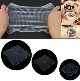 Wholesale Fresh Wrap - Silicone Wraps Bowl Cover And Food Stretch Lid 4PCS 1SET Bowl Covers and Food Stretch Lid Silicone utensils Cover Keep Food Fresh KKA2360