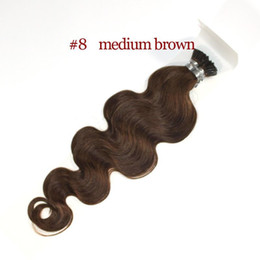 Wholesale 26 fusion hair extensions - 18''-24'' 1g strand nice color body wave i tip hair extensions 100s Color 1# 4# 8# 27# 100% remy human fusion hair