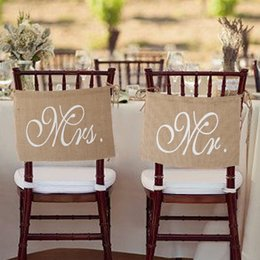 Wholesale Burlap Wedding Banners - Romantic Mr. & Mrs. Burlap Chair Banner Set Chair Sign Garland for Rustic Wedding Party Chair Decoration