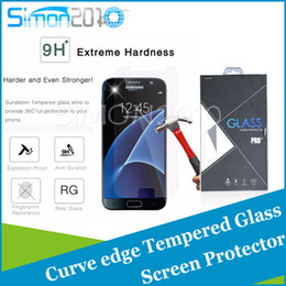 Wholesale Screen Protectors S4 - For S7 iphone 7 7plus 6 plus note5 S6 Tempered Glass Screen Protector 0.26mm 2.5D Explosionproof Film for S4 S5 note4