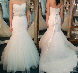 Wholesale Cheap Wedding Dresses Sweetheart Neckline - 2017 Elegant Mermaid Wedding Dresses Tulle Sweetheart Neckline Pleats Ribbon Sash Backless Lace-up Cheap Bridal Gowns Sweep Train