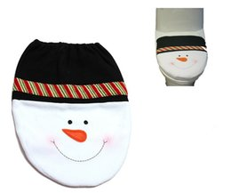Wholesale Free Shipping Bathroom Sets - Snowman Toilet Seat Cover and Rug Bathroom Set Christmas Decoration free shipping in stock