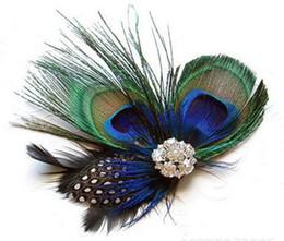 Argentina Dropshipping Pavo real plumas pinzas para el cabello horquilla chispeantes Rhinestones nupcial boda pelo Clip broche de cabeza accesorio Suministro