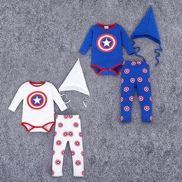 Wholesale Shield Hat Baby - Onesies Baby boy outfits Captain America shield Infants clothing Romper+pant sharp hat 3pcs Boutique clothes 2016 Autumn Wholesale Quality