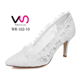 Wholesale ivory satin pump - Nice Delicated Sunflower Lace Pointy Shoe Toe Wedding Shoe Bridal Shoes For Wedding Bridemaid Elegance Style for Bride From Size 35-Size 42
