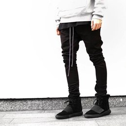 Wholesale Kanye West Pants - Wholesale-2016 Newest Hip Hop Men fear of god fog justin bieber style skinny slim long stripe zippers pants jogger in black kanye west