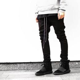 Wholesale Bootcut Pants - Wholesale-2016 Newest Hip Hop Men fear of god fog justin bieber style skinny slim long stripe zippers pants jogger in black kanye west