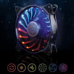 Wholesale Quiet Case Fan - Wholesale- PC Cooler 12V 12CM 18LED RGB Light PC Cooling Fan Cooler Deep Silence Quiet