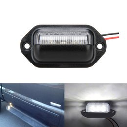 Wholesale Pair License Plate - Pair 12V Bright 6LEDs Number License Plate Light Car Door Light Lamp Bulbs Fit For Coach Motorcycle Boats Aircraft Automotive RV SUV Truck