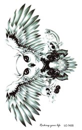 Wholesale Flying Owls - Wholesale- LC2743S 19X12cm Large Tattoo Sticker Halloween Horror Horrible Flying OWL Designs Temporary Tattoo Terrorist Stickers New 2015