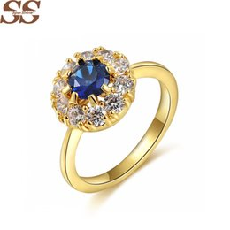 Wholesale Gold Ring Purple Diamond - 18K Purple Diamond Flower Ring Wedding Rings For Women Fine Jewelry Anel liruby Jewelry Rings Anillos bague